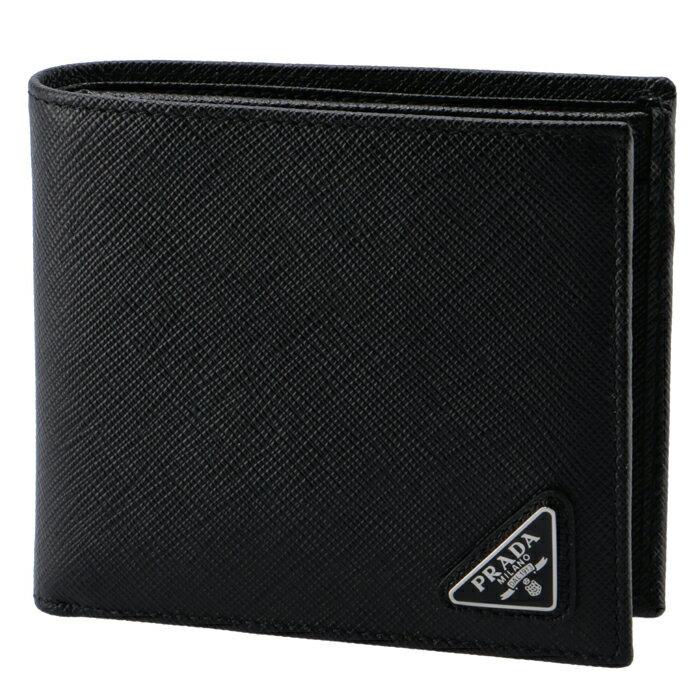プラダ PRADA 財布 型押しカーフスキン メンズ 二つ折り財布 2MO738 QHH 002