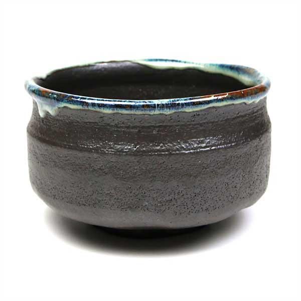茶道具 抹茶碗 黒地に白流し 日本製