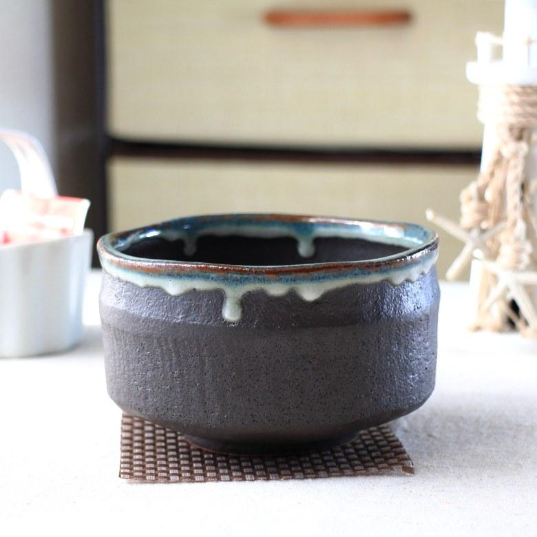美濃焼抹茶碗 白黒流し 抹茶 まっちゃ お茶 作法 和食器 茶器 茶碗 茶道 抹茶茶碗 定番商品 お試し 中級 上級 美濃取り寄せ セラポッケ 国産 美濃焼