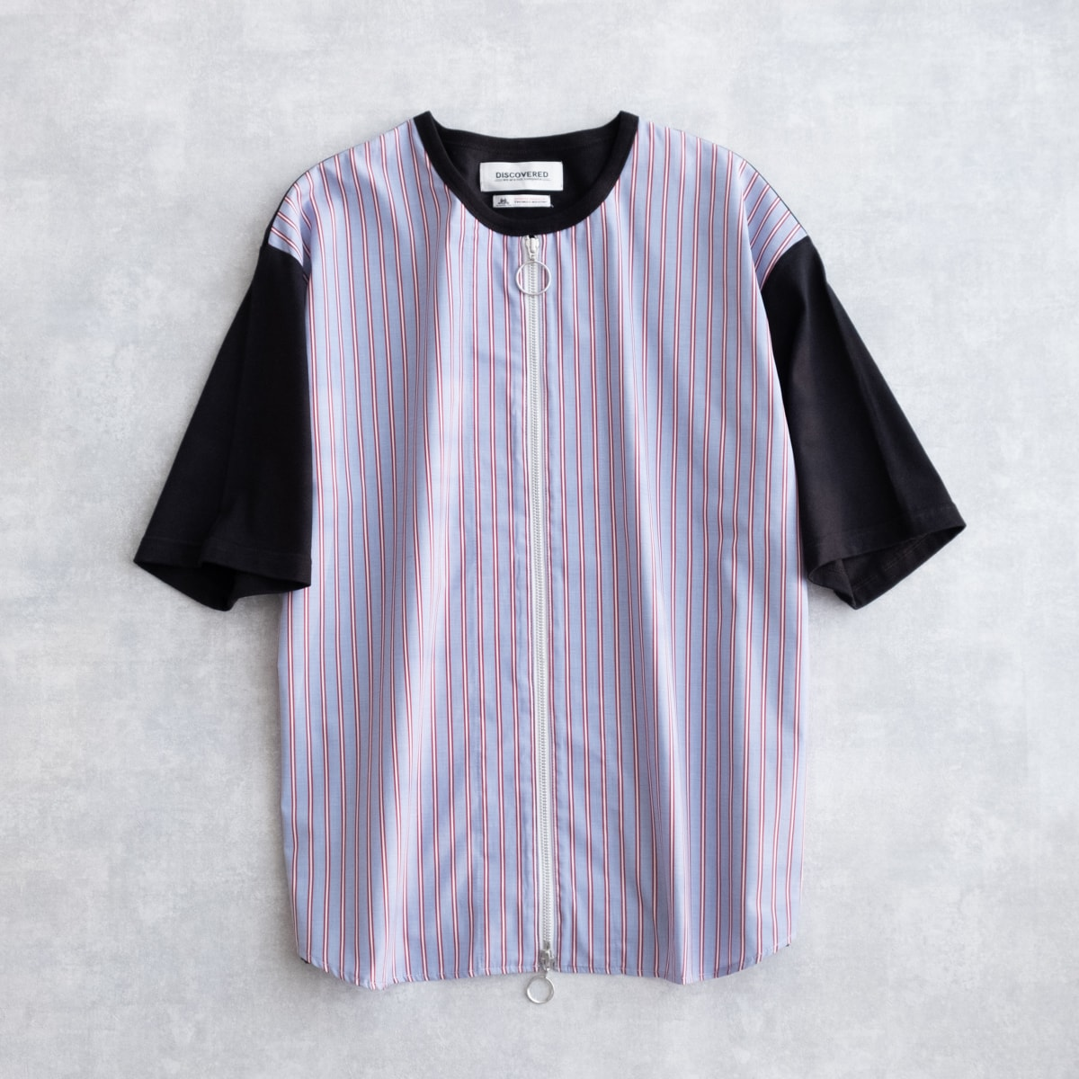 【SALE 50%OFF】 DISCOVERED SHIRT MIX CUTSEWN (2色 BLACK×RED/WHITE×NAVY) DC-SS19-CU-15 ディスカ...