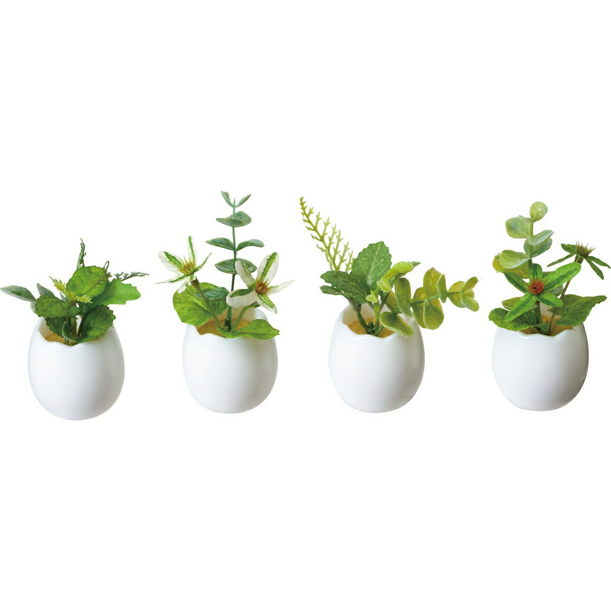【造花】YDM/グリーンミックスエッグポット ※4種類のいずれか1つ。お選びいただけません。/GLA-1406-AST