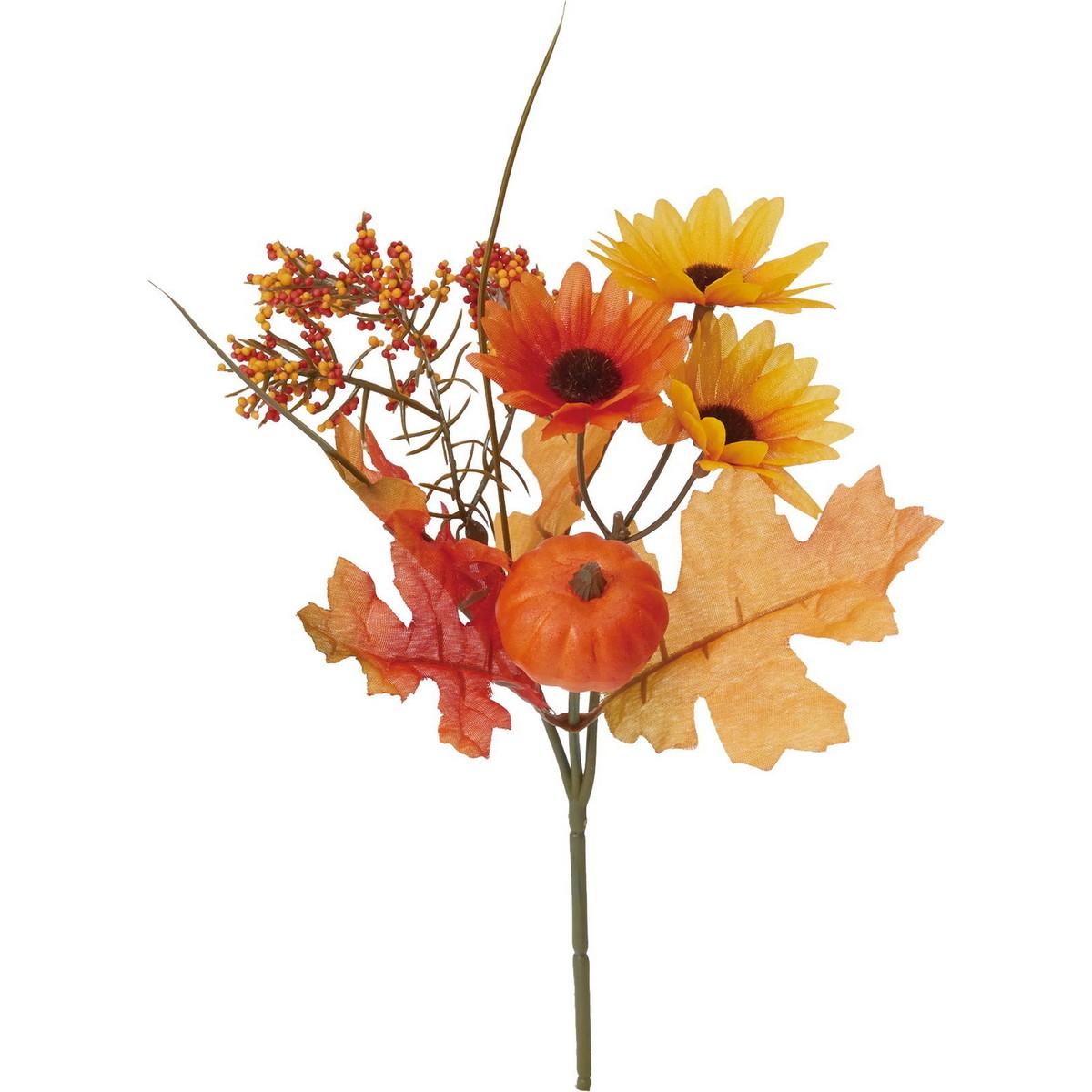【造花】YDM/オータムパンプキンミックスブッシュ/FS-9052OR【01】【取寄】