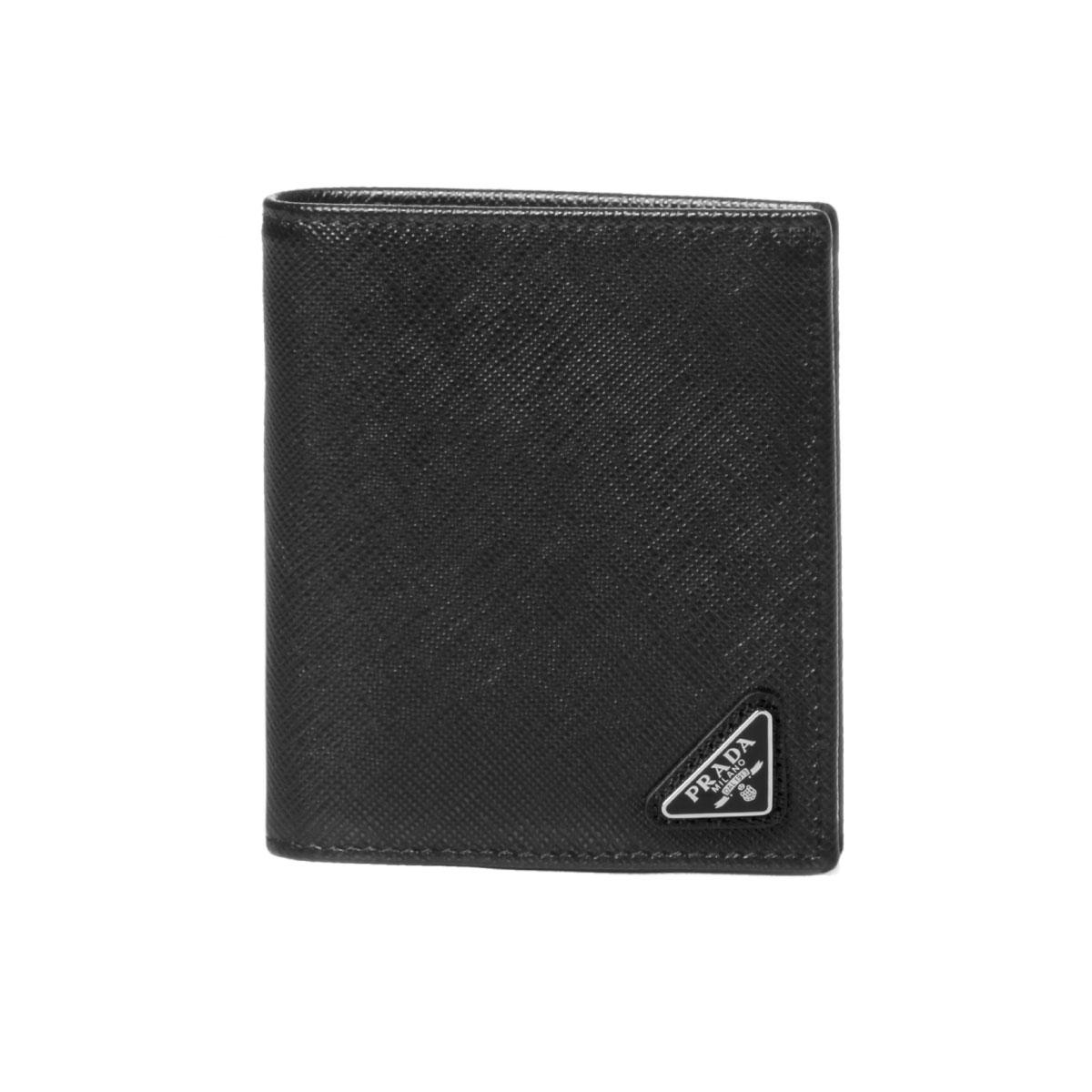 プラダ PRADA 財布 メンズ 2MO004 QHH F0002 二つ折り財布 SAFFIANO TRIANGOLO NERO ブラック