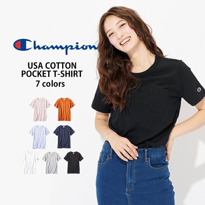 Champion USAコットン無地クルーネックTシャツ ウィメンズRight-on,ライトオン,CWSP304R,Champion,チャンピオン