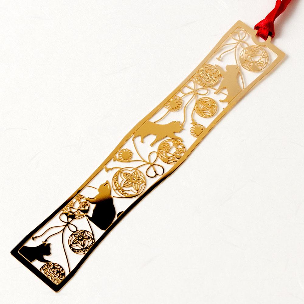 和柄ブックマーカー 手まり猫 (WAG004) 金の栞シリーズ 24K表面加工 金属製ブックマーカー Metal bookmark, Japanese pattern