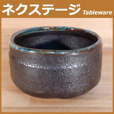 黒釉流し 抹茶碗