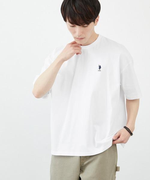 U.S. POLO ASSN. / U.S. POLO ASSN./ユーエスポロアッスン 別注 ビッグシルエット ロゴ刺繍 半袖 Tシャツ 無地T トップス