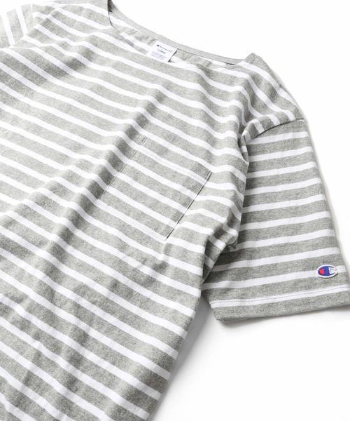Champion×FREAK'S STORE/チャンピオン 別注ウォッシュドコットンボーダーバスクシャツ