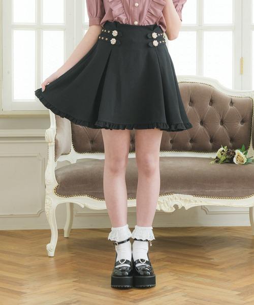 ダブルビジュ釦タッキングスカート