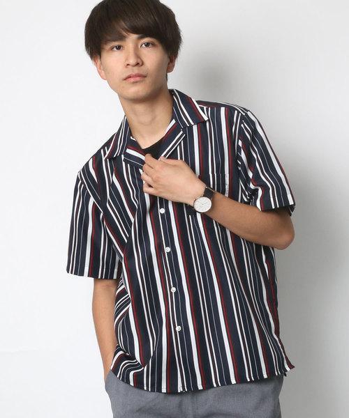 ポリストライプ リラックスオープンカラーシャツ/ 開襟シャツ/ アロハシャツ