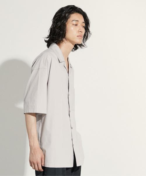 【WYM LIDNM】TENCEL/COTTON OPEN COLLAR SHIRT/オープンカラーシャツ