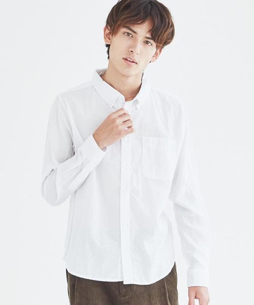 長袖ポプリンシャツ ブロードシャツ 無地 チェックシャツ