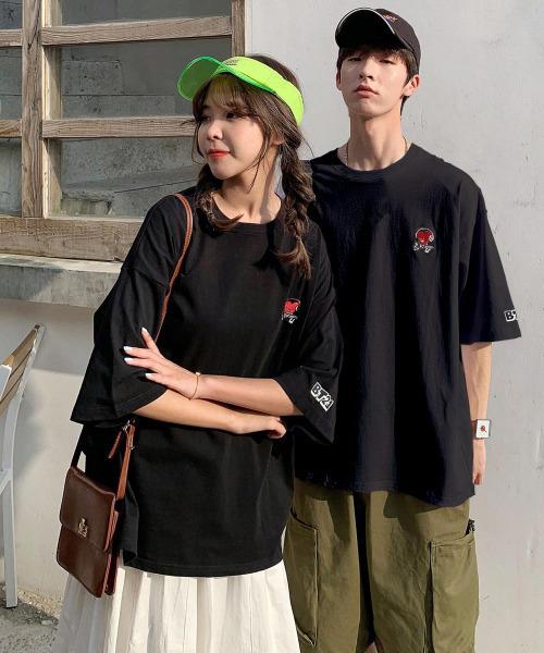 【neos -addictive design-】ビッグシルエット BT21 UNIVERSTAR ワンポイント 刺繍 ロゴ プリント クルーネック ショートスリーブ Tシャツ