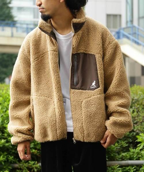 WEB限定 KANGOL/カンゴール 別注 ボアフリースジャケット/オーバーサイズ ボアスタンドブルゾン