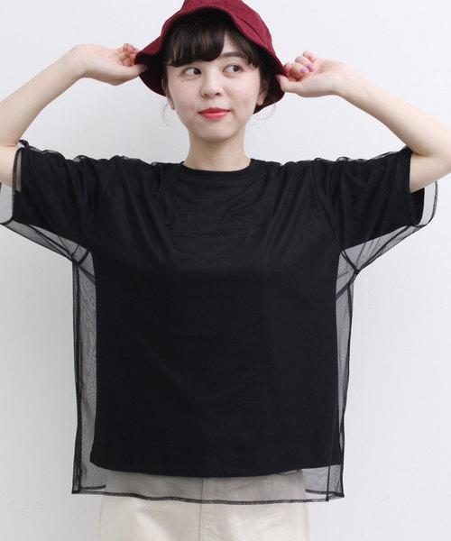 ●チュールレイヤード Tシャツ