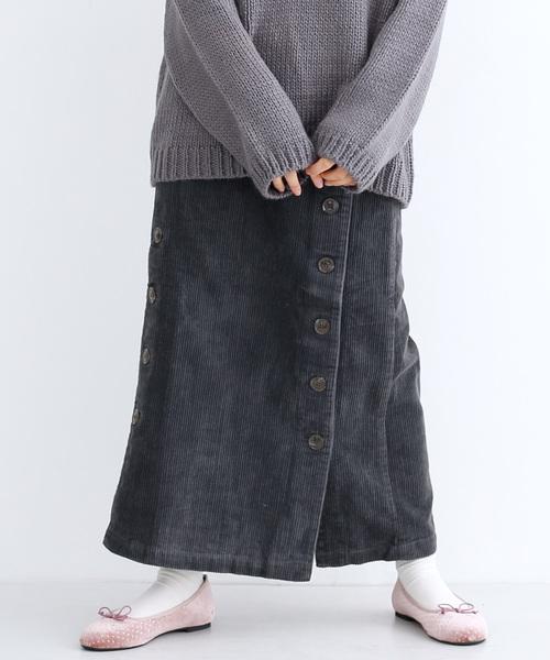 コーデュロイボタンセミタイトスカート052-7641