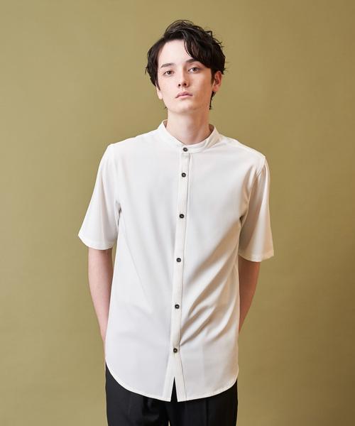 INTER FACTORY バンドカラー半袖シャツ