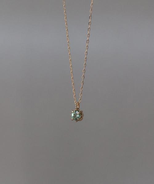 K18 グリーンサファイア 一粒 ネックレス