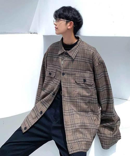 【neos -addictive design-】ビッグシルエット タータンチェック シャツ ジャケット
