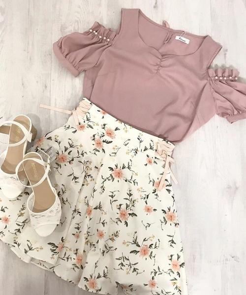 花柄レースUP/スカート