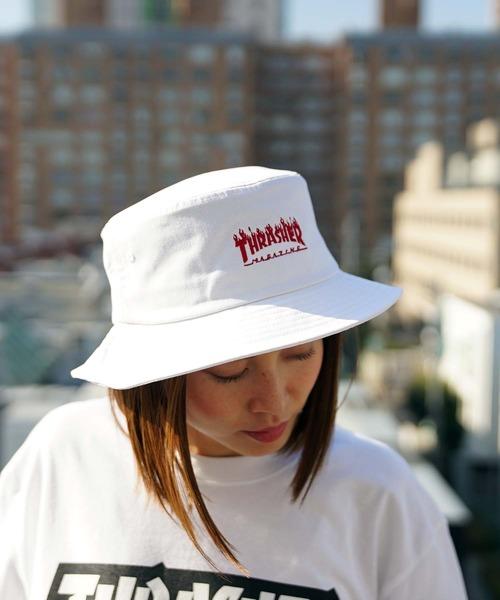 FLAME LOGO TWILL BUCKET HAT/スラッシャー ロゴ ハット 帽子 ユニセックス フレイムロゴ バケットハット バケハ