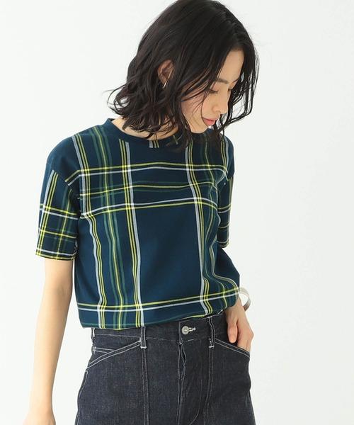 BEAMS BOY / ビッグ タータンチェック プリント Tシャツ