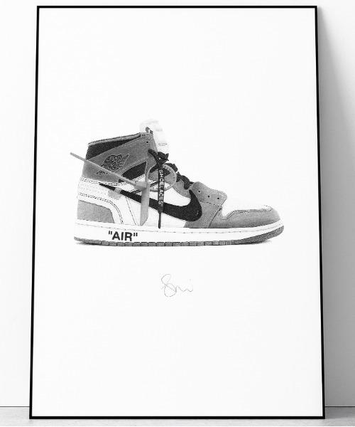 『Steph f Morris』NIKE THE10 OFF WHITE AIR Jordan 1/ ナイキ オフホワイト エアジョーダン1 スニーカー 絵画 アート