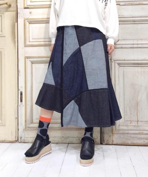 8ozデニム ステンドグラススカート