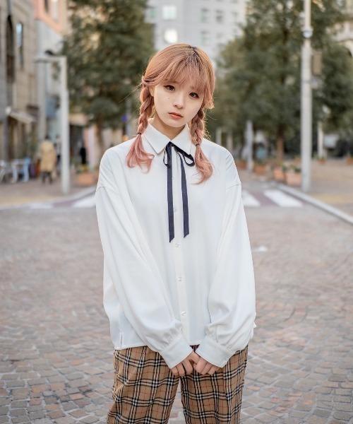 ファッションインフルエンサー poyo × ユウ × INTER FACTORY バルーン袖オーバーシャツ