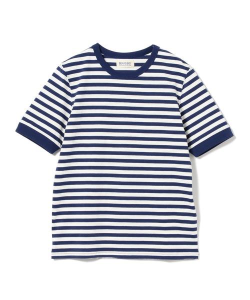 BEAMS BOY / ボーダー ダブルバインダー Tシャツ