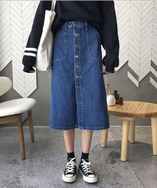 ひざ丈フロントボタンデザインデニム台形スカート