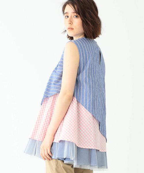 TORI-TO × BEAMS BOY / チュール レイヤー ノースリーブシャツ