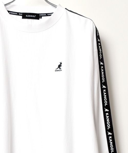 KANGOL/カンゴール 【別注】 ビッグシルエット ロゴ刺繍 袖プリント バックプリント テープ ロングスリーブTシャツ