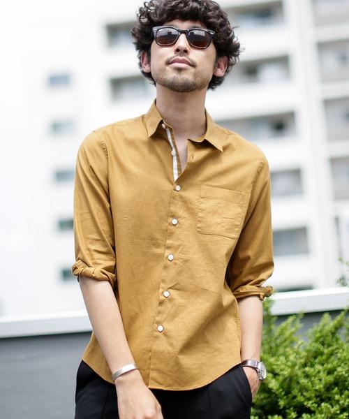 《WEB限定》フレンチリネンレギュラーカラーシャツ七分袖