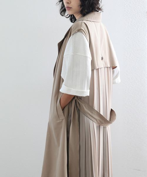 Classical Elf × malevie バックプリーツトレンチ無地スプリングコートベスト(ロング丈)