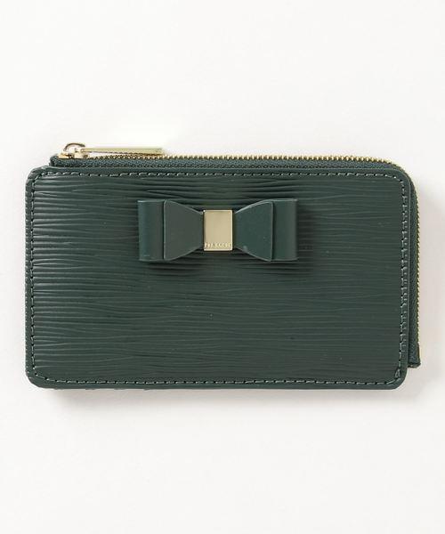 BLUEB リボン付サフィアーノレザー コンパクトミニ財布