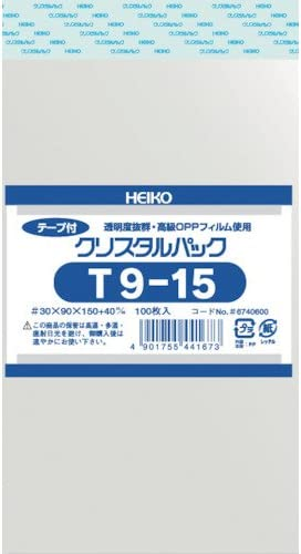 透明袋 OPPクリスタルパック T9-15 100枚入 <サイズ:厚み0.03mm 幅9×高15+4cm>
