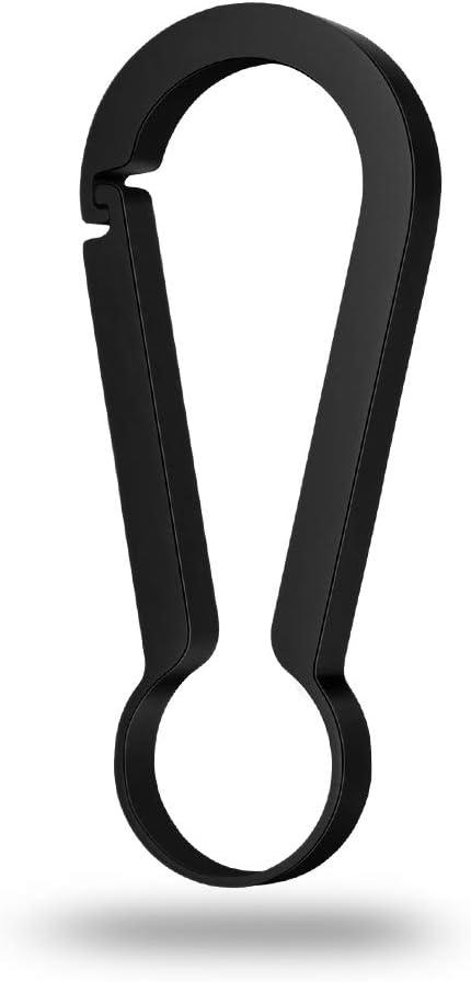 チタン合金製キーホルダー EDC カラビナ キーチェーン リング キークリップ シンプル オシャレ ライト 男女兼用 取付簡単 ブラック(L)