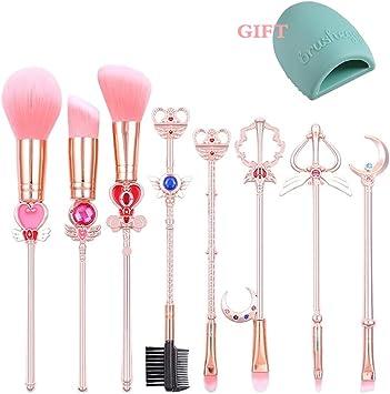Ourine 化粧筆 好きに 日系 メイクブラシ 8個セット ピンク ポーチ付き メイク道具 かわいい 化粧メイクブラシ 可愛い 全顔対応