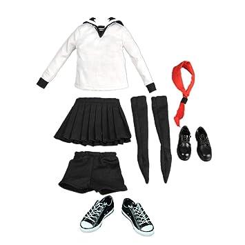 KESOTO 1/6スクール セーラー服 人形服 人形靴 12インチアクションフィギュア用 人形アクセサリー