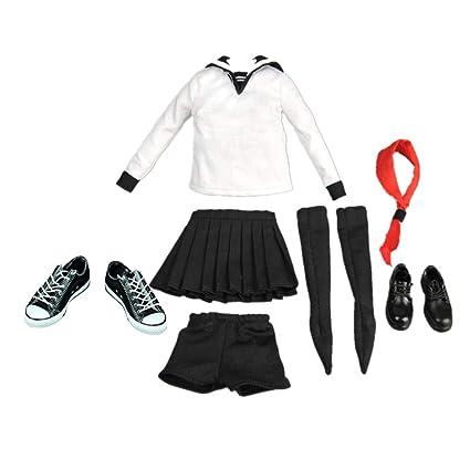 F Fityle 1/6スクール セーラー服 人形服 ドール制服 人形靴 12インチアクションフィギュア用 人形部品
