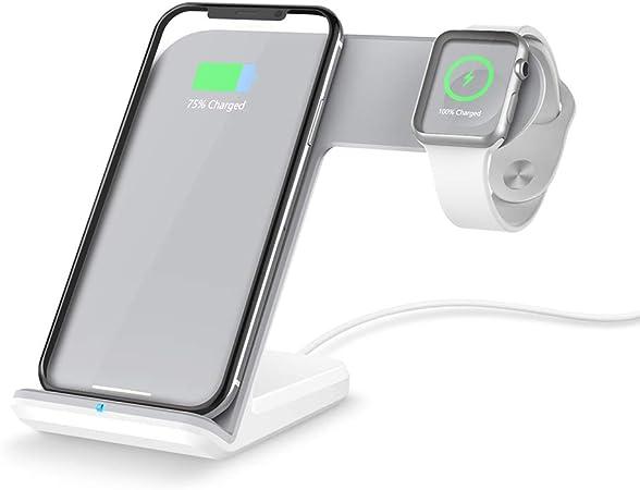 FACEVER Apple Watch iPhone充電器 2 in 1 Qi ワイヤレス充電スタンド 急速置くだけ無線充電器 iWatch アップルウォッチ Series ...