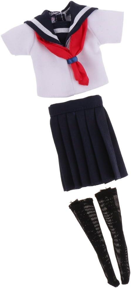 可愛い シャツ & ミニスカート 学校 制服 服 服装 12インチブライスドール用 装飾