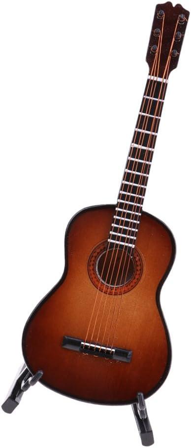木製 1/6スケール 小型 ギター模型 楽器モデル コレクション 茶色
