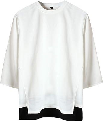 [サコイユ] カットソー レイヤード風 M~6XL スウェット 7分袖 Tシャツ 薄手 トップス 無地 切替 秋 冬 春 メンズ