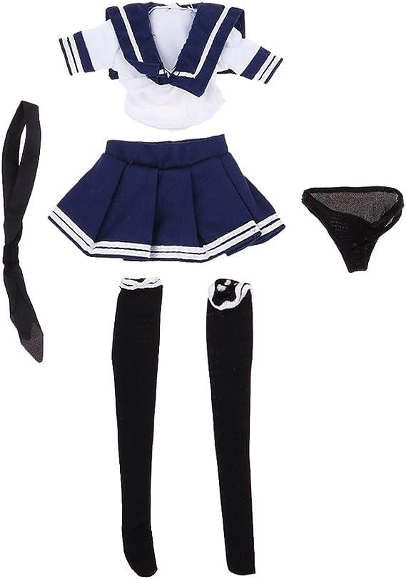 Baoblaze 1/6スケール ドール 女の子 フィギュア JK制服 スカート シャツ ネクタイ パンツ ストッキング セーラー服