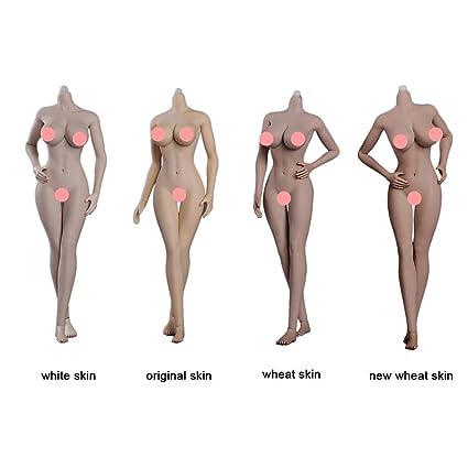 1/6スケール 人形 女性素体 超柔軟性シームレス TPE材質 ペールスキン 素体+手足パーツセット3.0版金属骨組み(4種類肌色)(頭は含まない)
