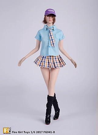1/6 女性 シャツ+ベスト+スカート+ソックス+帽子 +ハイヒール 衣装 フィギュア アクセサリー 12インチ ボディおもちゃ用 PHICEN 1/6 素体 (NO.1)