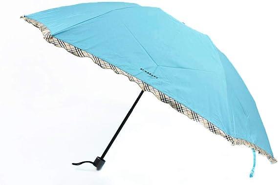 BURBERRY レディース 織 ドット ノバチェック フリル 折りたたみ傘 ブルー グリーン