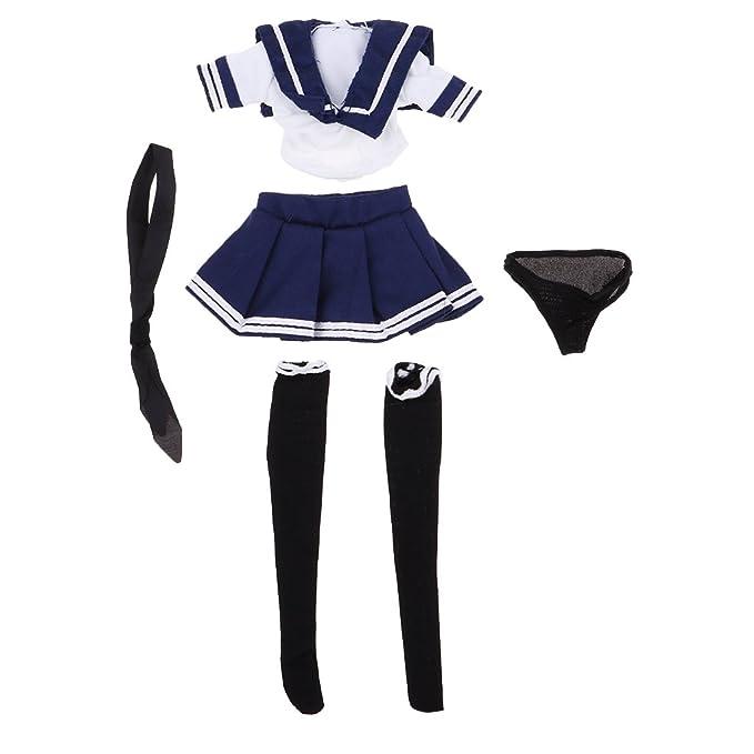 1/6スケール ドール衣装 女の子 JKスカート 学校 制服 シャツ ストッキング ネクタイ パンツ 12インチアクションフィギュア